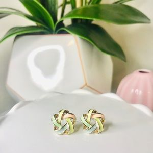 TRI-COLOR KNOT STUD EARRINGS | FASHION
